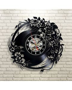 Floral Bouquet Theme Vinyl Wall Clock for Living Room