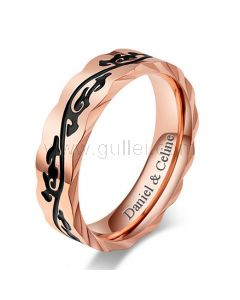 Custom Mens Wedding Band Silver and Rose Gold 5mm