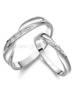 Custom Engraved Sterling Silver Curved Wedding Bands for 2
