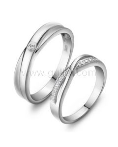 Cubic Zircona Sterling Silver Couple Wedding Rings with Engraving