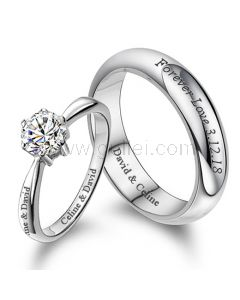 Customized Engraved Couple Engagement Rings Set for Two