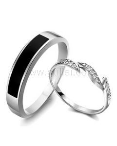 Custom Engravable Diamond Promise Rings for Couples Set of Two
