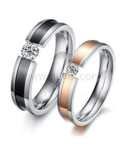 New unique diamond never fade steel couple rings set of two