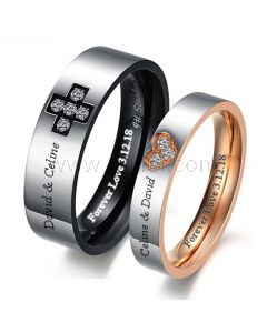 Engraved Matching heart His and Hers Titanium Rings Set for 2