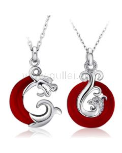 Dragon and Phoenix sterling silver love couple necklace set