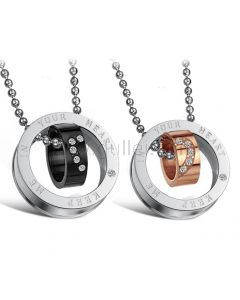 Matching Hearts Rings Couples Engraved Necklaces Set for 2