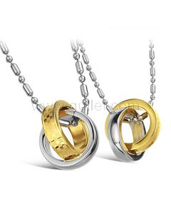 Hanging silver and gold rings girlfriend boyfriend necklaces