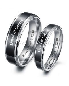 Personalized Couple Promise Rings Black Stainless Steel