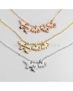 Custom Name Initial Mama Bear Necklace Gift for Mom