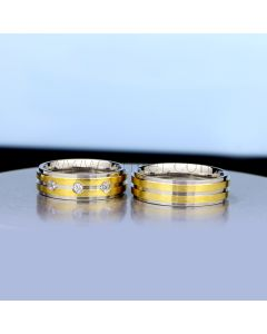 Engraved Couples Engagement Titanium Rings Set for 2