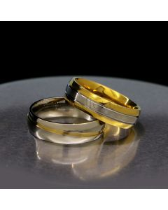 Engraved Matching Titanium Wedding Rings for Him and Her
