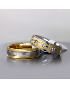 Personalized His and Hers Titanium Wedding Bands for 2