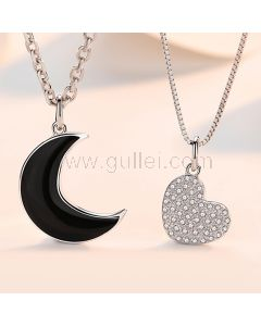 Moon Heart Best Sisters Necklaces Gift Set