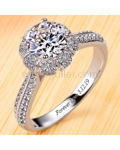 1 Carat Diamond Womens Engagement Ring with Name