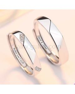 Matching Engraved Promise Rings for Him and Her (Adjustable Size)