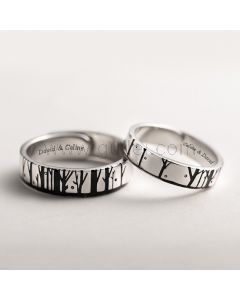 Engraved Couple Rings Christmas Gift (Adjustable Size)