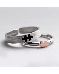 Puzzle Piece Engraved Couple Rings Christmas Gift (Adjustable Size)