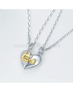 Lock and Key Heart Couple Promise Necklaces