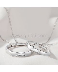 Matching Amour Ring Necklaces Gift for a Couple