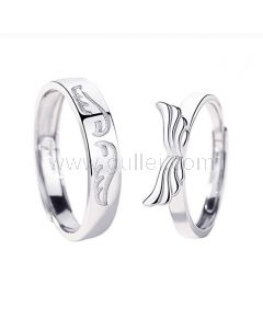 Engraved Wings Couple Rings Set Sterling Silver