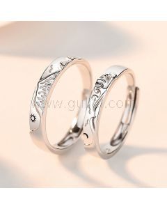 Sun and Moon Couple Wedding Bands for 2