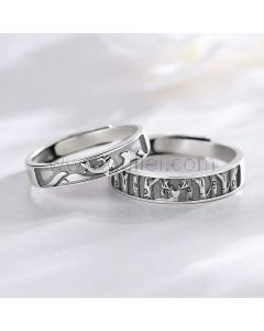 Engraved Wedding Filigree Rings Set for Him and Her