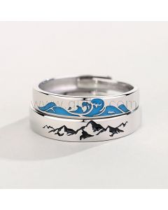 Mountain Ocean Matching Promise Rings Set for 2