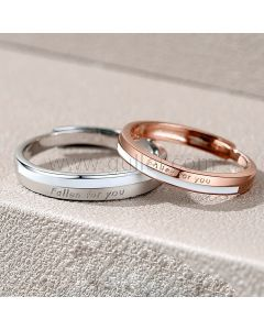 Personalized Sterling Silver Promise Rings Set for 2