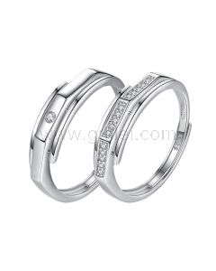 Engraved Couple Promise Rings Set Sterling Silver