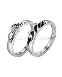 Mountain and Waves Promise Rings Set for Boyfriend Girlfriend
