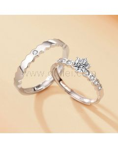 Engraved Sterling Silver Couple Engagement Rings Set