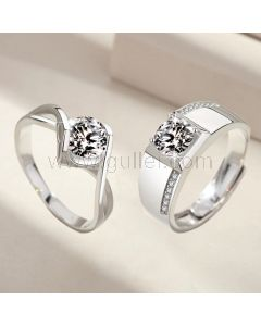 Engraved Diamond Engagement Rings Set for Couple