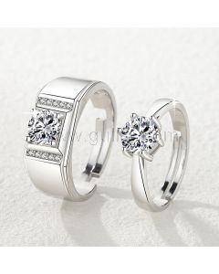 Engraved Sterling Silver Couple Wedding Rings Set