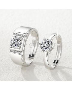 Personalized Sterling Silver Couple Wedding Rings Set