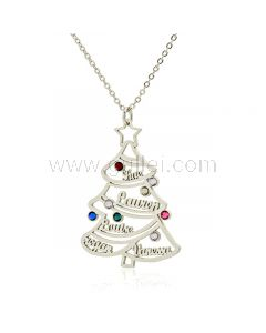 Christmas Tree Family Name Necklace with Birthstones