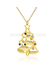 Christmas Tree Family Name Birthstones Necklace