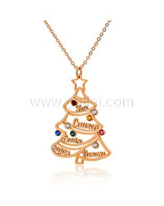 Birthstones Christmas Tree Family Name Necklace