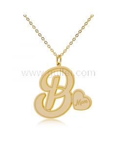 Name Initial Heart Dainty Necklace Gift for Mom