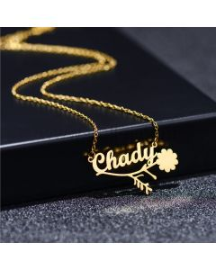 Floral Custom Name Necklace for Women