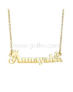 Crown Butterfly Custom Name Necklace