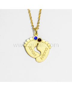 Engraved Birthstone Feet Shaped Necklace