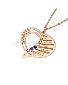 Heart Birthstone Family Necklace for Mom