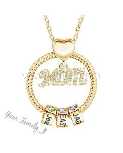 Birthstone Family Name Necklace for Mom