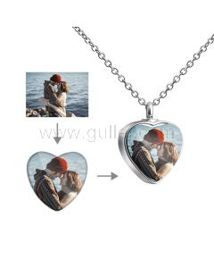Heart Shaped Photo Print Pendant Necklace for Her