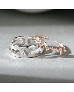 Matching Heartbeat Couple Promise Rings Set