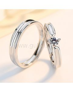Matching Silver Engagement Rings Set for 2