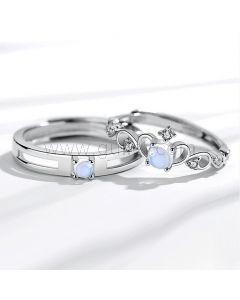 Crown Couple Engagement Rings Set for 2