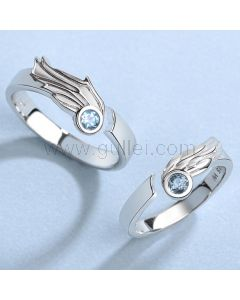 Angel Wings Couple Engagement Rings Set
