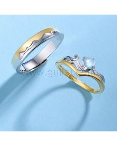 Mountain and Ocean Bff Rings Set for 2