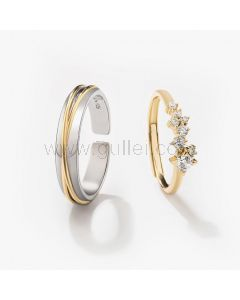 Matching Couple Engagement Rings Set for 2